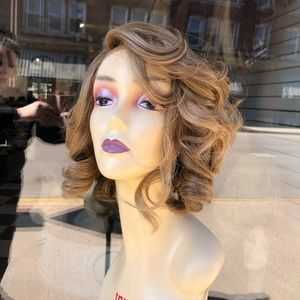 Blonde asymmetrical short bob Lace Wig curly 2020